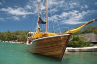 Wooden boat moored in Mauritius s